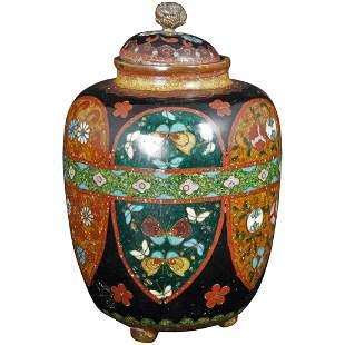 Japanese Meiji cloisonné Ginger Jar late 19th
