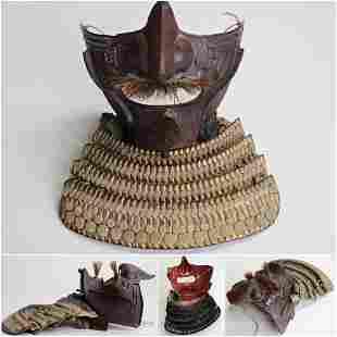 Original Japanese Samurai Menpo gold Edo period.