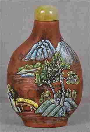 19c Chinese Yixing SNUFF BOTTLE scholarly landscapes