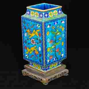 Japanese Diamond Shaped cloisonné Vase with Stand