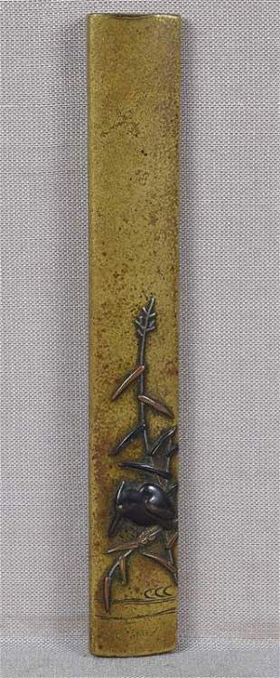 19c sentoku Japanese sword KOZUKA KINGFISHER on reeds