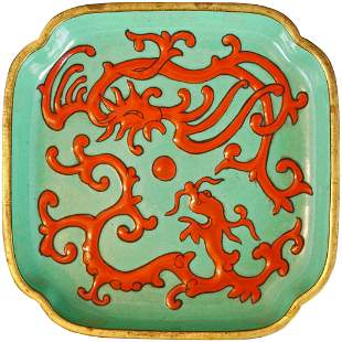 Chinese Square Enameled Gilded Bronze Dish 19th C