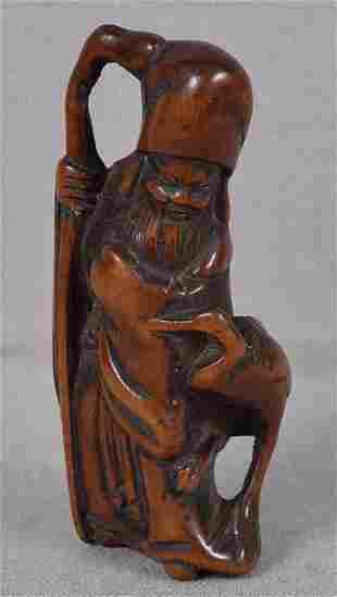 19c netsuke god of longevity JUROJIN with crane