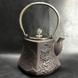 Teapot for tea ceremony Marked Matsu Eiichido iron