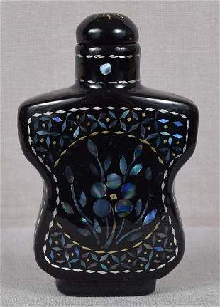 19c Chinese lacquer burgaute SNUFF BOTTLE