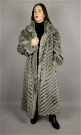 WOMENS REVERSIBLE GREY FOX FUR COAT