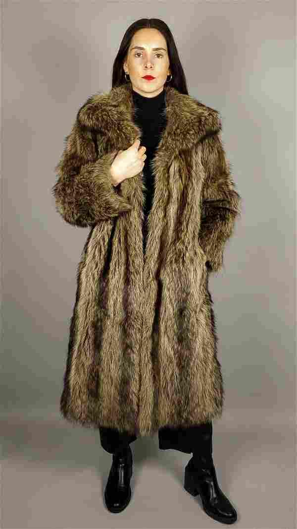 WOMENS BROWN RACCOON FUR COAT