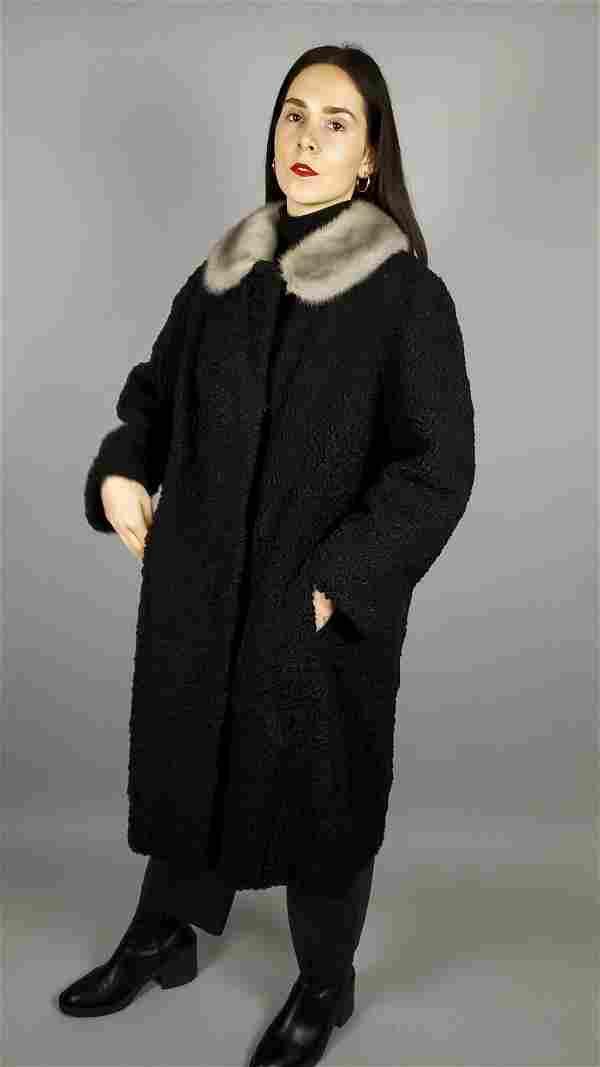 WOMENS BLACK CURLY PERSIAN LAMB BLONDE MINK COAT