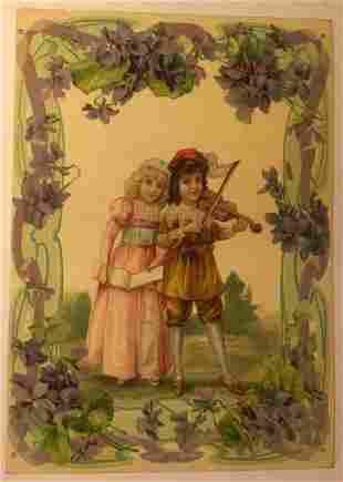 """Original Vintage """"Violin Kids"""" Poster Linen Backed"""