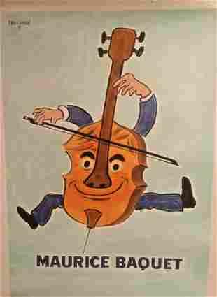 Original Vintage c.1970 Maurice Baquet Cellist Poster