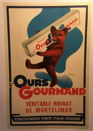 """Original Vintage """"Ours Gourmand"""" French Candy Poster"""