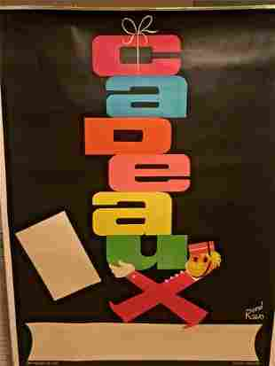"Original Vintage ""Cadeaux"" French Gift Shop Poster"