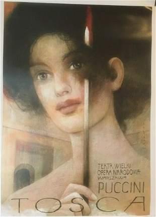 """Original Vintage """"Tosca"""" Opera Poster Linen Backed"""