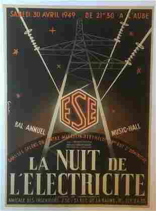 Original Vintage 1949 French Advertising Poster Linen