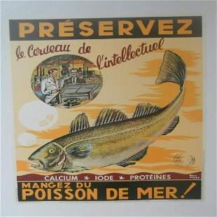 Original Vintage c.1940 Brown Poisson du Mer Fish