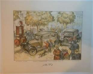 "Original Vintage ""Auto"" Art Poster Linen Backed"