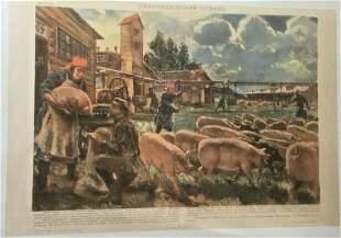 "Original Vintage 1930 Russian ""Collective Farm"" Poster"