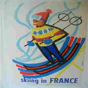 Original Vintage c.1950 Skiing in France Poster Linen