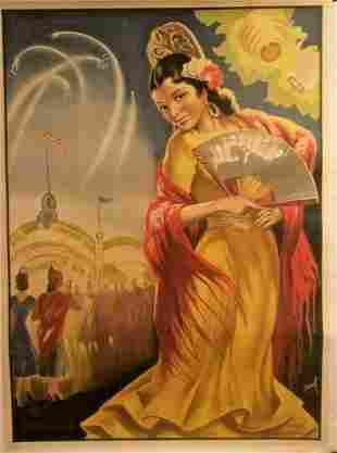 "Original Vintage c.1940 ""Spanish Woman With Fan"" Poster"