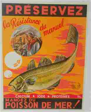Original Vintage c.1940 Orange Poisson du Mer Fish