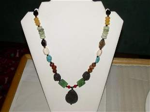 Real Hard Stone Sterling Necklace With Lava Stone
