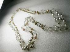 """Vintage Goldtone 64"""" Faux White/Cream Pearl, Clear &"""