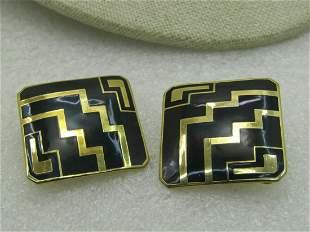 Vintage Avon Black & Gold Checkerboard Earrings, Clip -