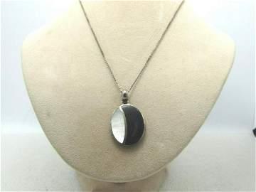 "Vintage Sterling MOP/Black Necklace, 20"", Box Chain,"