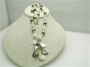 """Vintage Beaded Shell & Dangle Necklace, 19.5"""", MOP,"""