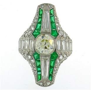 Art Deco Diamond Emerald Platinum RING Antique