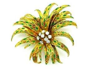 Boucheron Vintage Yellow Gold Diamond Enamel Flower