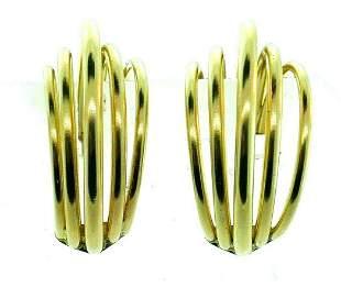 RETRO 14k Yellow Gold Hoop Earrings Circa 1950s