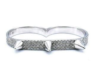Pala de arrastre Elise Oro Blanco Diamante Anillo de