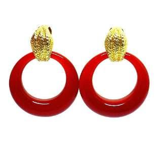 David Webb Door Knocker Carnelian Yellow Gold Earrings