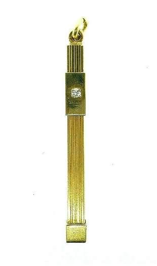 VINTAGE 14k Yellow Gold & Diamond Mechanical Toothpick