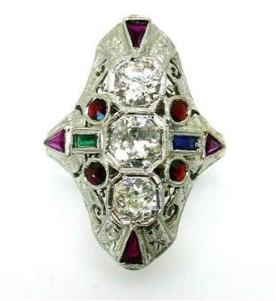 Victorian 20k White Gold Diamond Ruby Sapphire Emerald