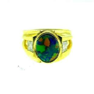 MODERN 18k Yellow Gold, Diamond & Opal Ring Designer