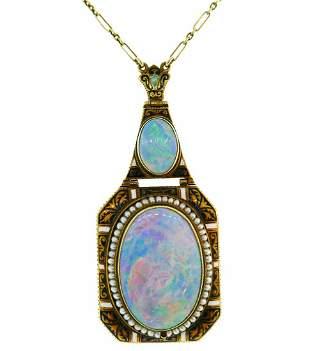 Art Nouveau Opal Yellow Gold Pendant NECKLACE Antique