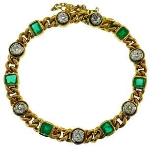 Victorian Gold Emerald Diamond Line BRACELET Antique