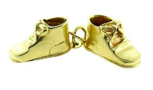 RETRO 14k Yellow Gold Double Baby Shoe Charm Engraved