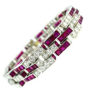 Oscar HEYMAN Ruby Diamond Platinum BRACELET 1960s
