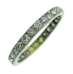 Art Deco Diamond Platinum ETERNITY BAND RING WEDDING