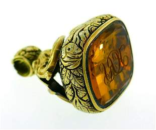 Victorian Citrine Gold Seal Fob Charm PENDANT