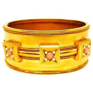 Victorian Coral 14k Yellow Gold Bangle Bracelet