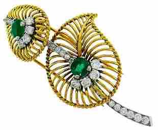 Monture CARTIER Emerald Diamond Gold BROOCH PIN CLIP