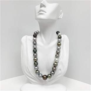 14-17mm Tahitian Multicolor Round Pearl Necklace with