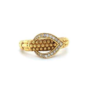 Lagos 18k Yellow Gold and Diamond Caviar Ring Size 7