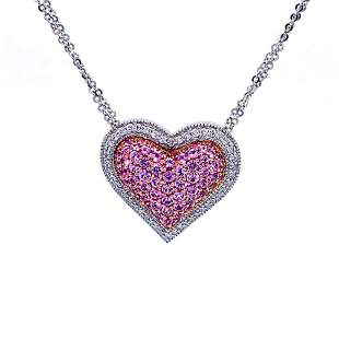 GIA Natural No Heat Pink Sapphire and Diamond Heart