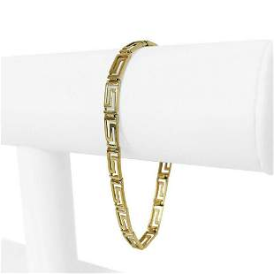 14k Yellow Gold 6.5g Ladies 5mm Greek Key Link Bracelet