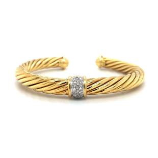 David Yurman 18k Yellow Gold and Diamond Twisted Cable